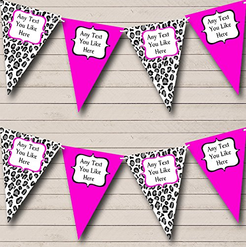 Black White Hot Pink Animal Print Hen Do Night Party Bunting Banner