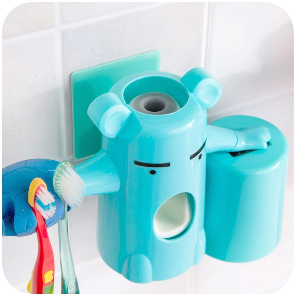 ZJchao 3 in 1 Love's Cartoon Bear Toothbrush Holders, Powerful Suction Automatic Toothpaste Dispenser and Brushing Cup Set, novel Amazing Christmas Gifts for Kids (Blue)