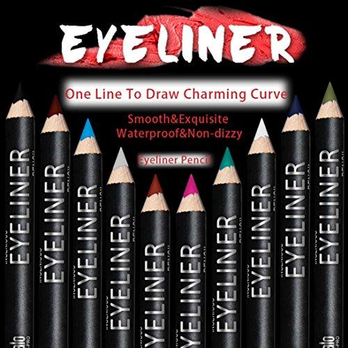 DZT1968 12 Colors Waterproof Eye Make Up Eyeliner Pencil (Assorted Eyeliner)