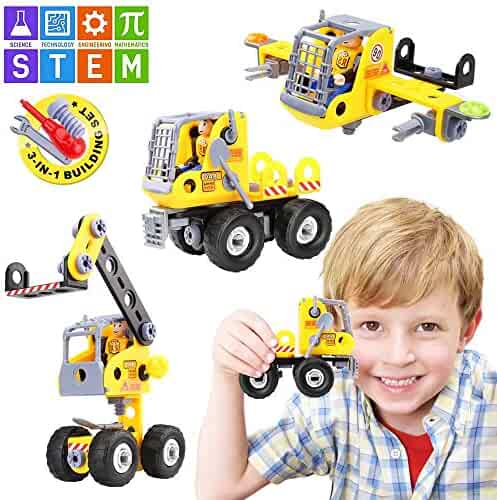 Betheaces Stem Learning Kids Toys Assembling Educational Building Blocks Set 3-in-1 Construction Engineering Transform Truck Airplane Crane Toy DIY Take Apart Puzzles for Boys and Girls Gift