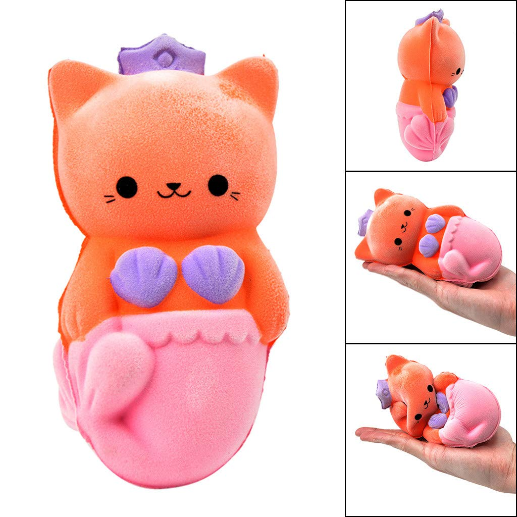 Kariwell Squishy Toys - Beauty Furry Cat Squishies Slow Rising - Cream Squeeze Scented Reliever Stress Toy Adorable Toys (Orange❤️)