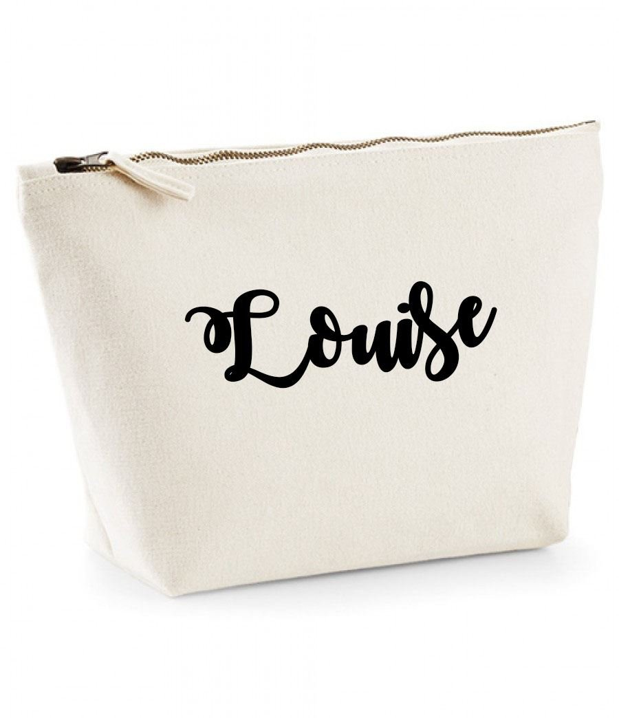 The perfect personalised Gift for All occasion Christmas Louise Personalised Name Cotton Canvas Make Up Accessory Bag Wash Bag Size 14x20cm Birthdays,