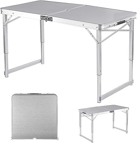 Adalantic Mesa Plegable de Picnic, Mesa de Camping portátil de Aluminio con 4 sillas para Interior y Exterior, Maleta para Mesa de Juego
