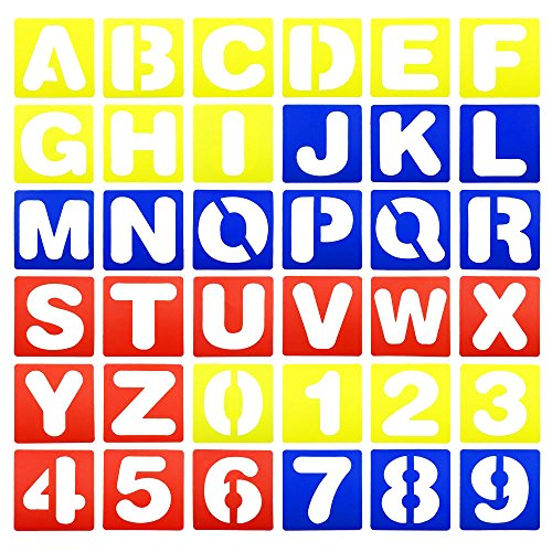 Hyamass 36pcs Colorful Alphabet and Number Stencils Set Drawing Templates for Painting Learning, DIY Craft Decoration