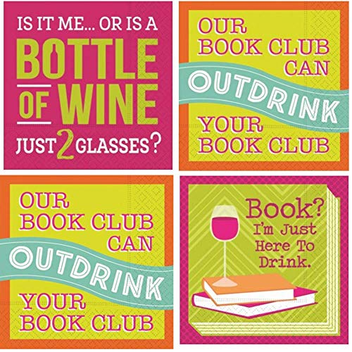 Bookclub Cocktail Napkins Funny Wine Party Phrases Variety Pack 30 total napkins