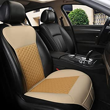 1Piece,Beige Luxury Car Seat Protector,Universal Anti-Slip Driver Seat Cover with Backrest Black Panther Car Seat Cover Diamond Pattern Embroidery