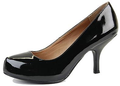Ladies Platform Work Pumps Low Mid Heels Stiletto Court Shoes Black Patent  Size 3