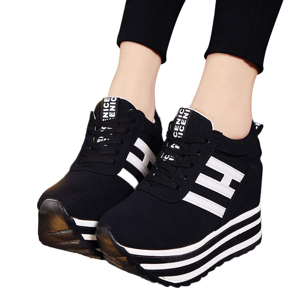 Claystyle High Platform Shoes Women Lace Up Sneaker Canvas Wedge Thick Bottom Sport Shoes Loafers(Black,US: 6.5) by Claystyle Shoes (Image #2)