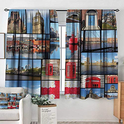 All of better England Window Curtain Fabric England City Red Telephone Booth Clock Tower Bridge River British Flag with Flowers Decor Curtains by 63