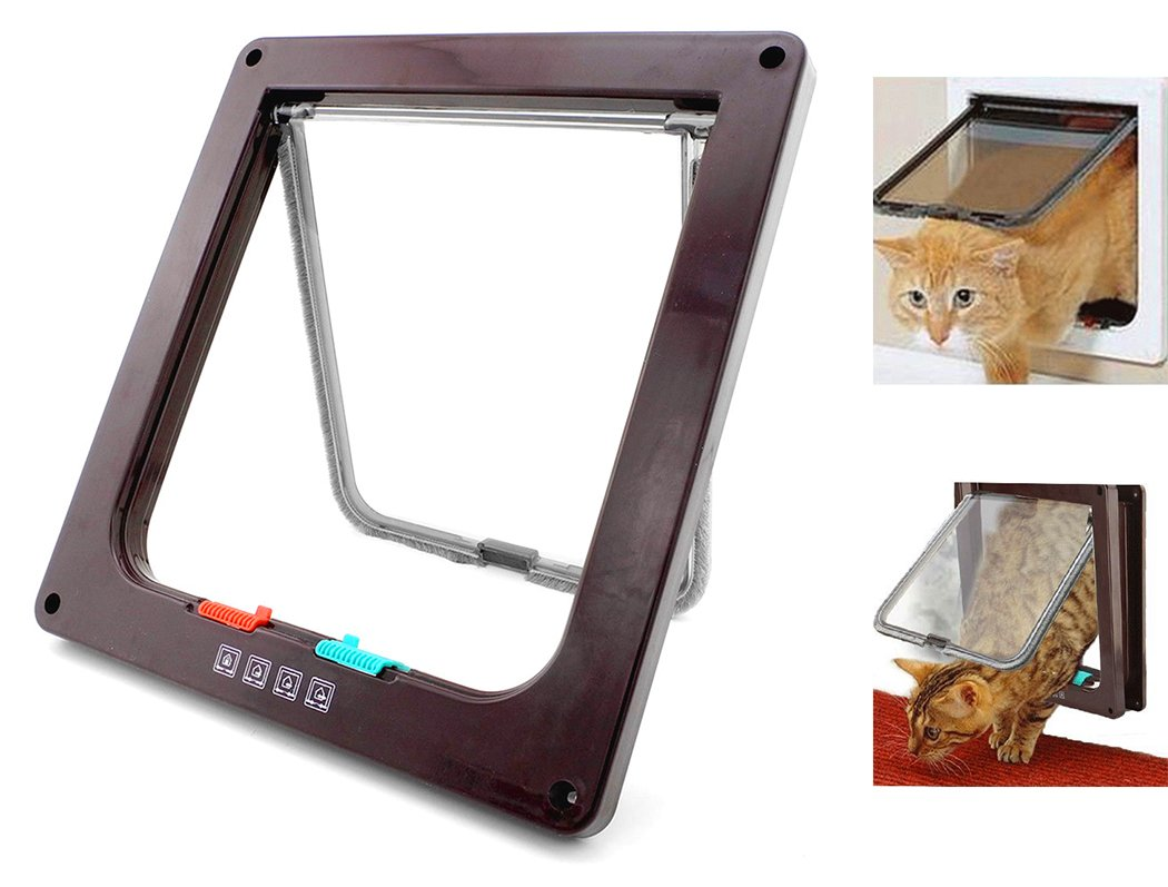 Xiaoyu Interior 4 Ways Locking Cat Dog Door & Flaps, Brown, Large