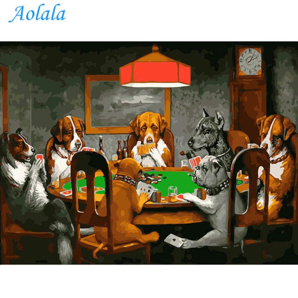 Aolala Frameless Pictures Pictures Pictures DIY Malen nach Zahlen Malen auf Leinwand Home Decor Wandkunst Abstraktes Ölgemälde Hund Spielkarten,60X75cm B07MG5DBXK | Deutschland Store  f0578d