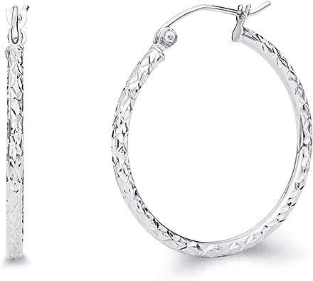 Pendientes De Aro Con Bisagras De Oro Blanco Real De 14 Quilates De 0 059 In De Grosor Oro Blanco Er110w Jewelry