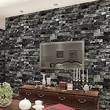 WitHome Waterproof Removable Faux Brick Stone Textured Wallpaper Roll Blocks Home Room Vintage