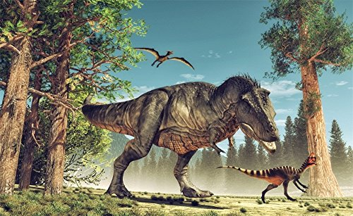 Leowefowa 5X3FT Jurassic Period Dinosaur Backdrop Park Attack Theme Backdrops for Photography Cartoon Boys Birhtday Vinyl Photo Background Kids Room Wallpaper Studio Props -