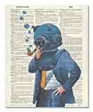 Vintage Dictionary Art Print Upcycled 8x10 - Blue Nautical Dive Suit
