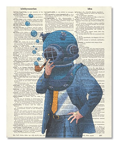 Vintage Dictionary Art Print Upcycled 8x10 - Blue Nautical Dive Suit by Benchmark LLC