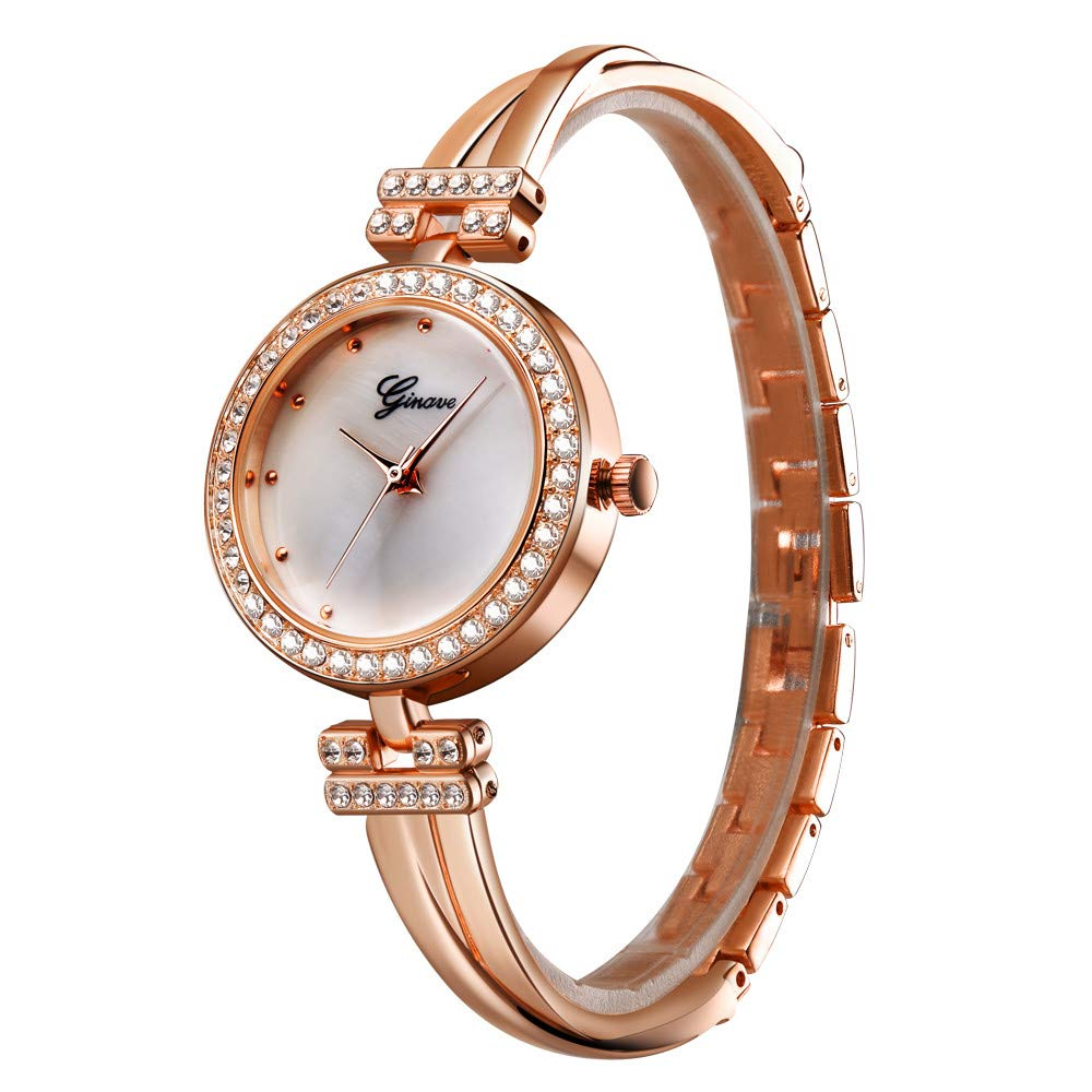 Women's Wristwatch & Bangle Set, Dress Watch and Goldtone Crystal Bracelet Ladies by Bravetoshop(Rose Gold, 1pc)