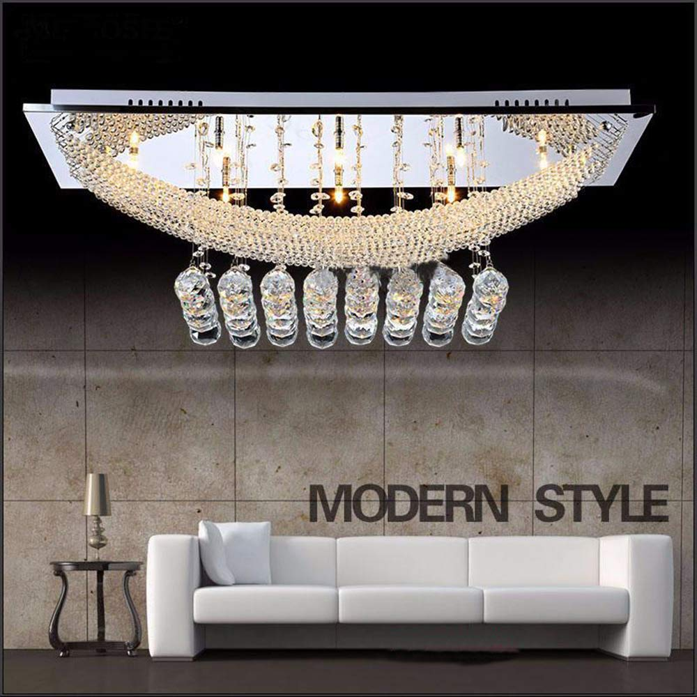 FEEKENBU Luxuriant Crystal Pendant Light with 8 Lights, Ceiling Light Fixture Flush Mount Chandeliers Lighting with Bulb Included, Crystal, Fit for Kitchen, Dining Room, Living Room Kive International Ltd