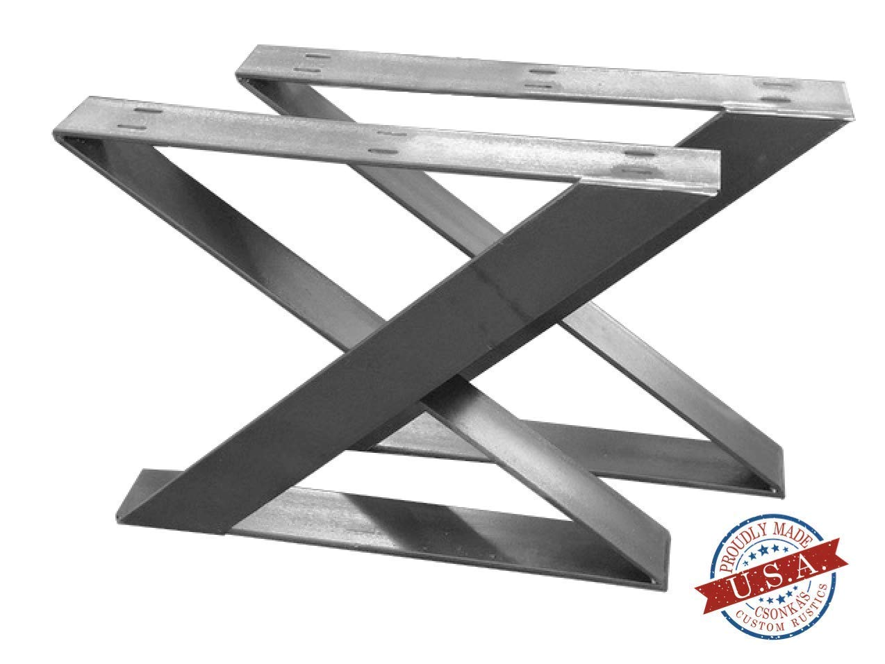 "2 Pack - Z Leg Style Table Brackets (Size Range: 14-33""L x 16-35""H) Square Metal Legs, Table Legs, Bench Legs, Legs, Modern, DIY 61NTBQ522BkL._SL1274_"