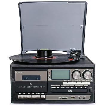 HXWS Sistema estéreo Retro con Placa giratoria y grabación de ...