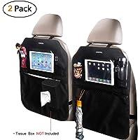 Acekool Car Kick Mats(2 Pack) - Waterproof Car Seat Back Protectors Car Seat Organizers with Multi Pockets for iPad…
