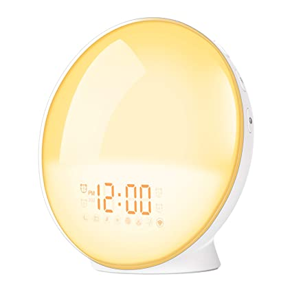 Sunrise Alarm Clock, Shayson Smart Wake Up Light, Alarm Clock Radio, Compatible with Alexa and Google Home, 7 Colors Mood Night Light with 4 Sets ...