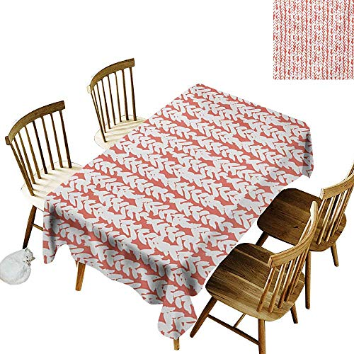 Outdoor Rectangular Tablecloth W54 x L90 Coral Hand Painted Braids Vertical Pattern Bohemian Hipster Fashion Chevron Ethnic Artwork Coral White Great for Party More