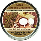 Premium 100% Soy Candle 6 oz.Tin- Sea Salt & Rice Flower - A clean, spa scent.Rice flower, citrus,cotton blossom, jasmine, grey sea salt, bamboo leaves w/ musk.