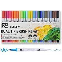 ASEKUN Plumones Punta de Pincel 24 Colores, Pluma Dibujo Rotuladores de Dibujo con Doble Punta(0.4mm/1-2mm), Rotuladores…