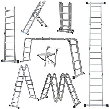 Escalera extensible multiusos resistente con bisagras de bloqueo de seguridad, plegable, con 1 bandeja de herramientas de seguridad, fabricada según las especificaciones EN131 Parte 1 y 2: Amazon.es: Bricolaje y herramientas