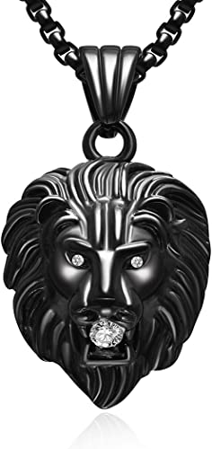 Exclusive Mens Womens Steel Colorful Lion Head Pendant Necklace with 24 inches Steel Wheat Chain