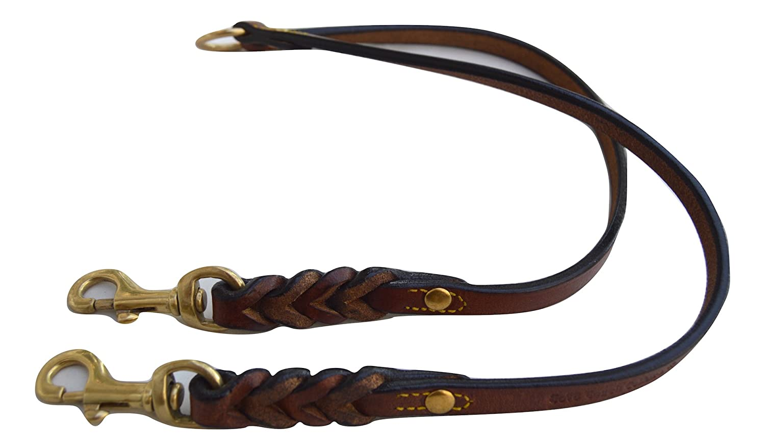 Leather Braided Coupler Dog Leash Soft Touch Collars for Walking Two Dogs