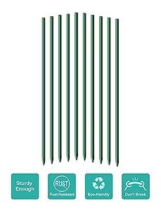 EcoStake, 3-Feet, 50 Pack, 1/4-Inch Dia, Ecofriendly Plant Stakes, Garden Stakes, Tomato Stakes, Green