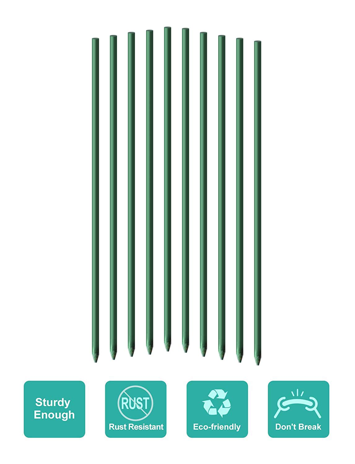 EcoStake Garden Stakes 8-Ft for Climbing Plants Supports Pole 20 Pack Rust-free Plant Sticks Fence Post
