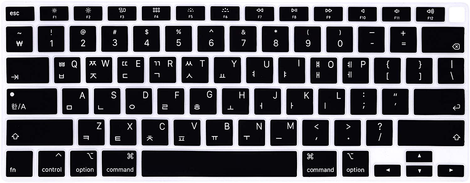 HRH Korean Language Keyboard Cover Skin,Silicone Keyboard Cover Protector for MacBook Air 13 inch A2179 2020 Released with Touch ID&Retina Display US Version Protective Skin(for 2020 Air 13)-Black