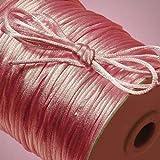 Beading Cord Beading Supplies Satin Rattail Cord Trim Shamballa Macrame Beading Nylon kumihimo String 2MM (100 Yards, Light Pink)