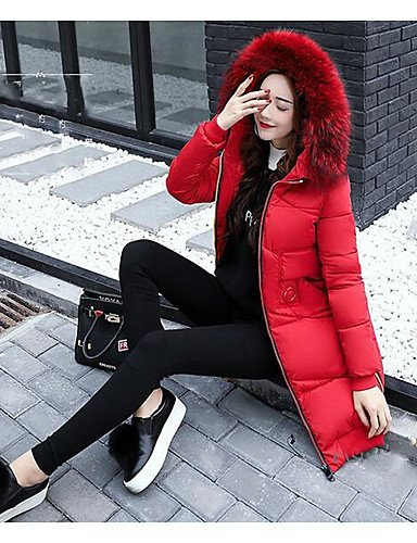 Sleeves ZHUDJ Simple Red Daily Solid Coat Out Casual XL Going Women'S Cute Down Sqp6v