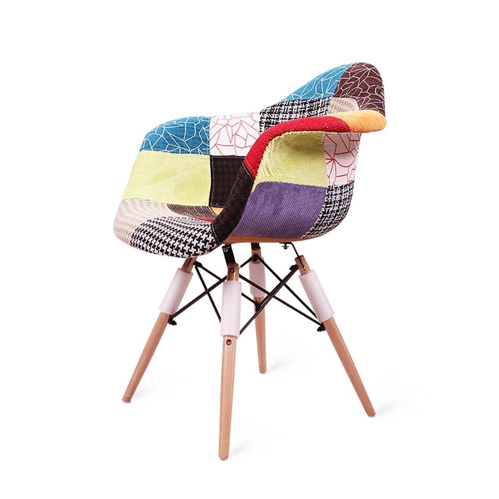 アームレストダイニングチェアカフェティーショップ西洋レストランリビングルームモダンシンプルな布アートレトロ背もたれ木製椅子 (色 : Style1, サイズ さいず : Set of 4) B07F3KQ694 Set of 4 Style1 Style1 Set of 4