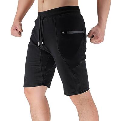 BROKIG Men's Sidelock Gym Workout Sport Shorts With Zipper Pockets