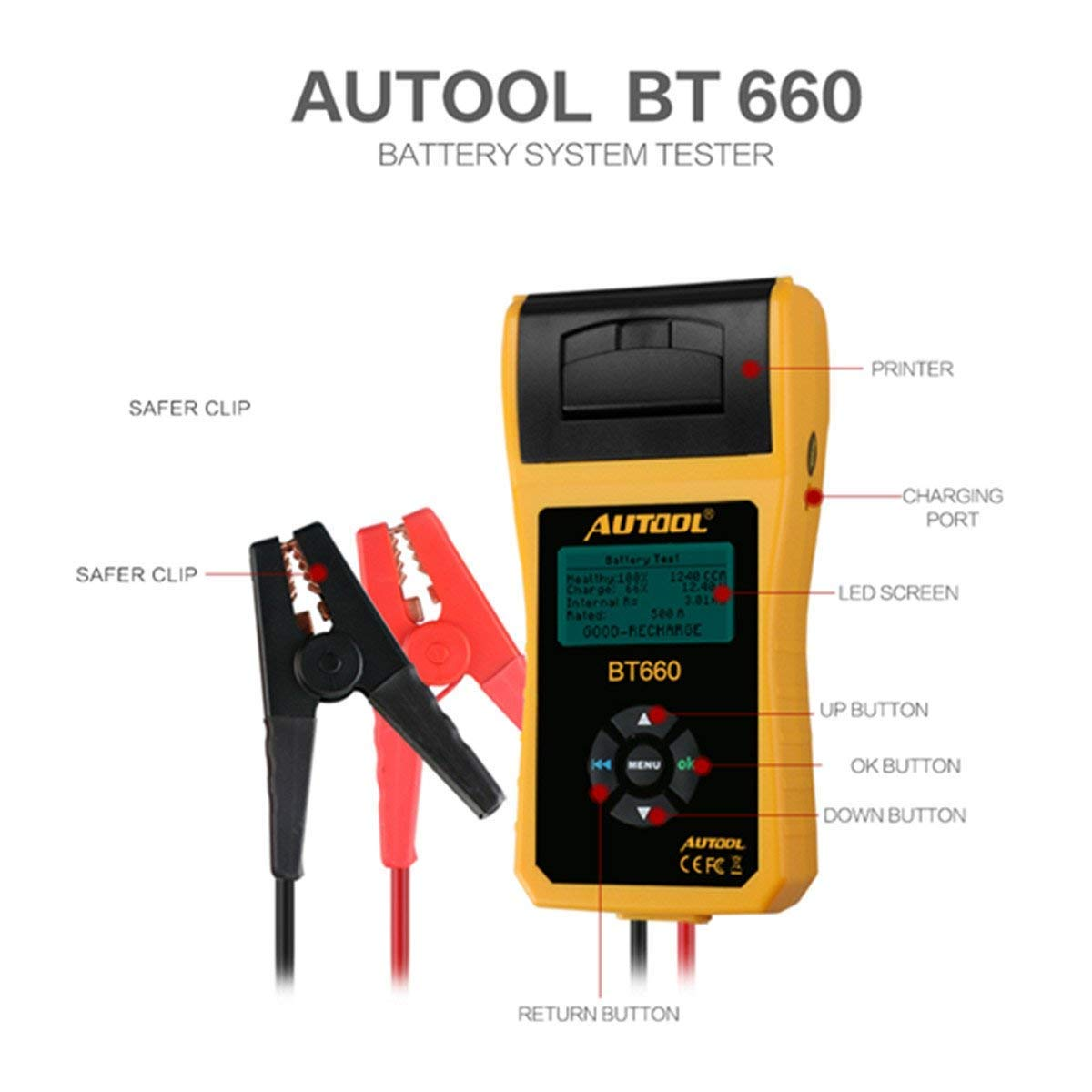 AUTOOL BT660 CCA 100-3000 12V/24V Battery Load Tester, Car Cranking and Charging System Analyzer Scan Tool with Printer for Heavy Duty Trucks, Cars, Motorcycles, Boats by AUTOOL (Image #1)