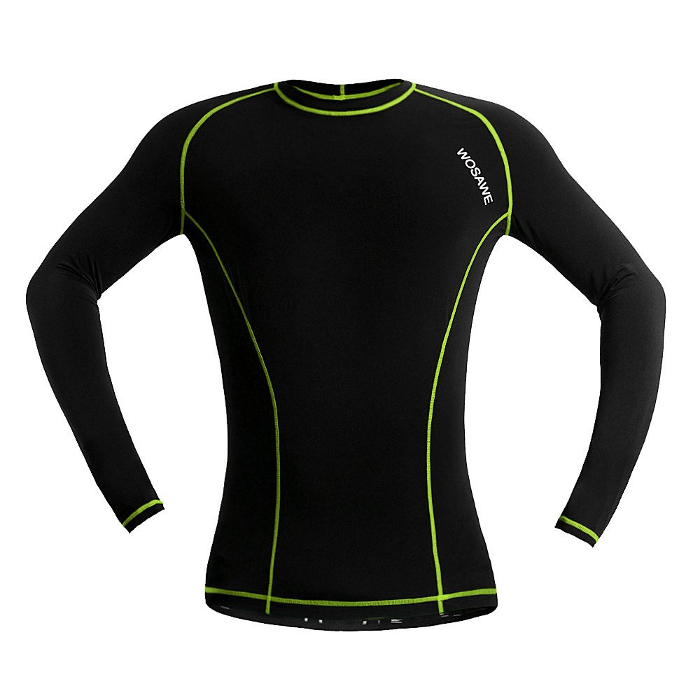 WOASAWE Mens Long Sleeve Sports Fitness Workout Compression Base Layer Shirt