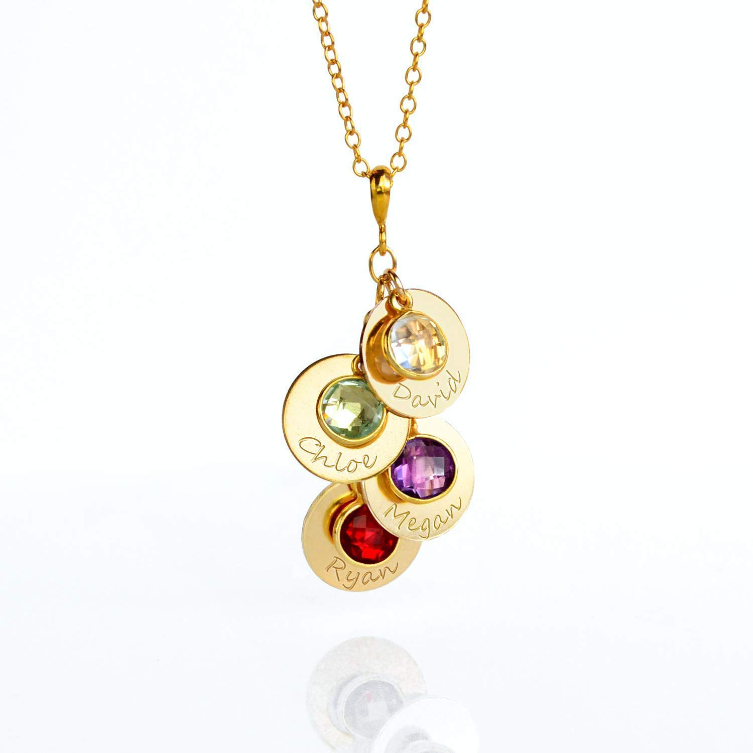 e65cf609cc70d Amazon.com: Mother's Necklace with Kids Names and Birthstone Charms ...