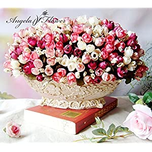 Artificial Flowers Fake Flowers - Autumn 15 Heads/Bouquet Small Bud Roses Bract Simulation Flowers Silk Rose Decorative Flowers Home Decorations for Wedding - Silk Flowers 65