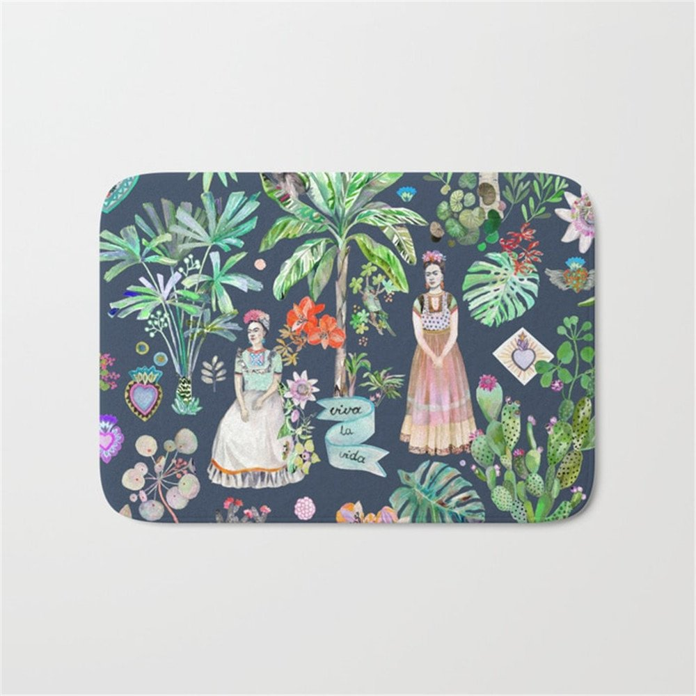 Frida Kahlo Botanics - Carbon Grey Bathroom Bath Door Mat Rug 16×24 inch Huisfa