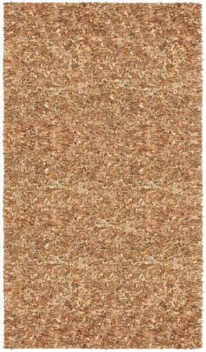 Pelle Short Leather Shag Rug, 5 by 8-Feet, - Brown Rug Pelle Leather