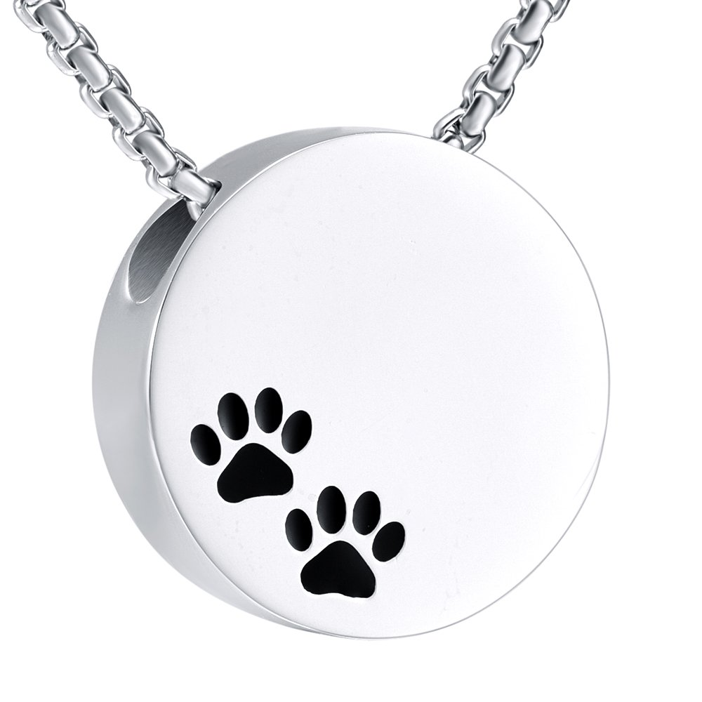 Double Black Dog & Cat Paw print Cremation Locket Jewelry Ashes Holder Urn Necklace For Pet by EternityMemory (Image #1)