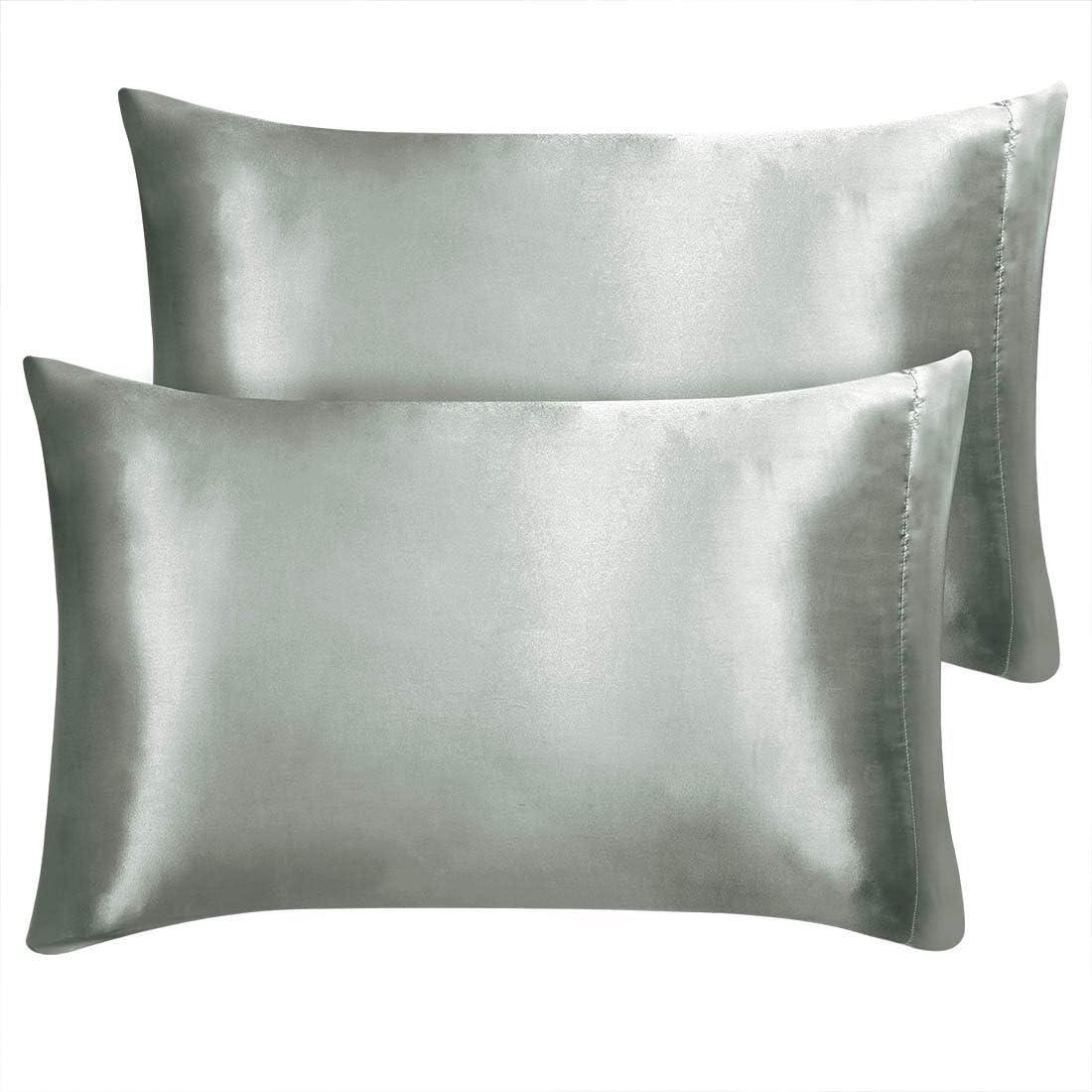 sourcing map Fundas de almohada de sat/én para cabello y piel color negro 20 x 76 cm