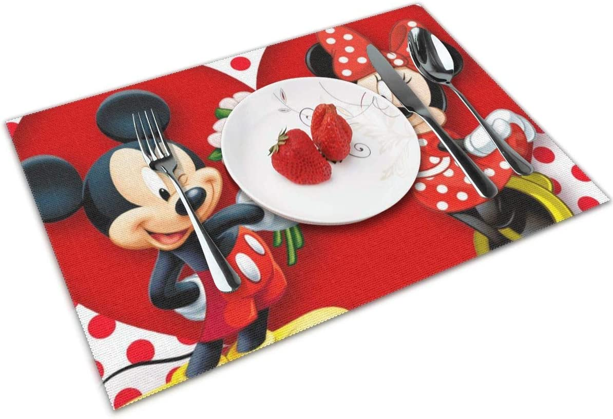 LIUYAN Placemats Mickey Mouse Minnie Love Couple Heart Non-Slip Placemat Washable Dining Table Mats 4pcs
