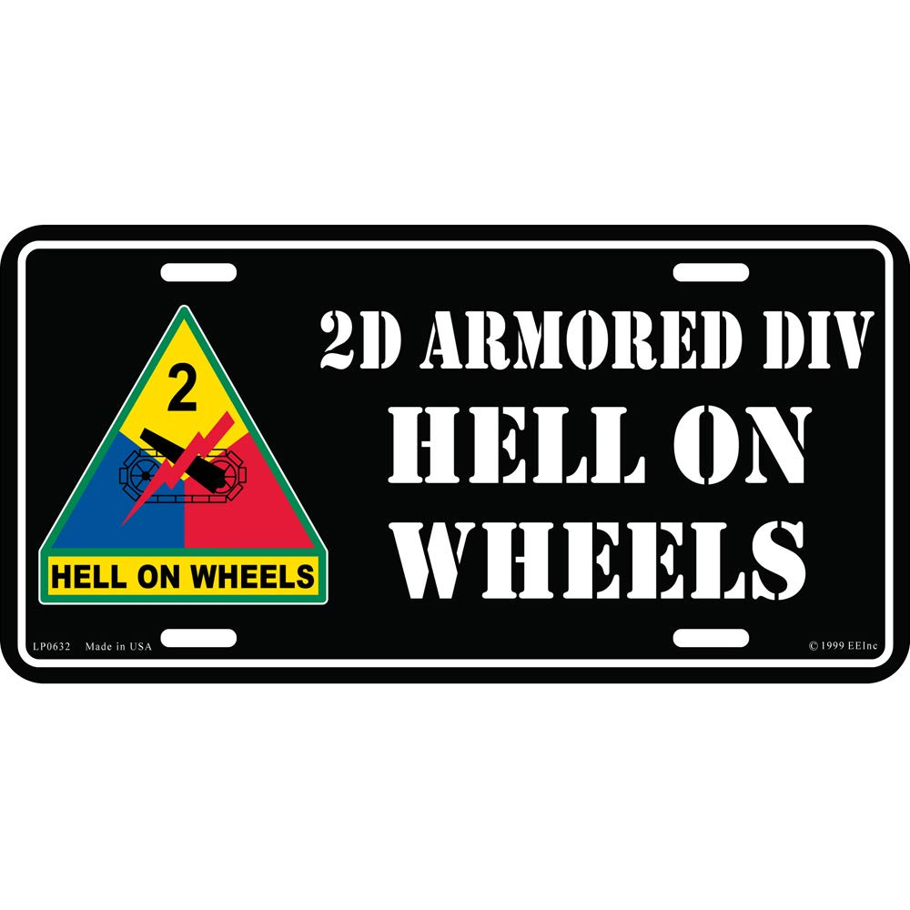 Artisan Owl United States Army 2D Armored Div Hell On Wheels Automobile Metal License Plate Including Fastener Screws