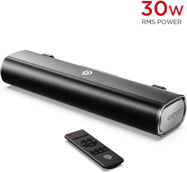 Mini Barra de Sonido 2.0 Canales para TV/PC, BOMAKER 30W Mini Soundbar Portátil Inalámbrico, Altavoces Bluetooth 5.0 con Control Remoto, Tapio I, Soporte Conexiones de Ópticos/USB/AUX - Negro